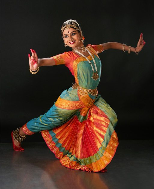 Bharata Natyam is a classical dance form from the South Indian state of Tamil Nadu, dating back to 1000 B.C. The pleats in these costumes opens beautifully when the dancer forms a particular postures