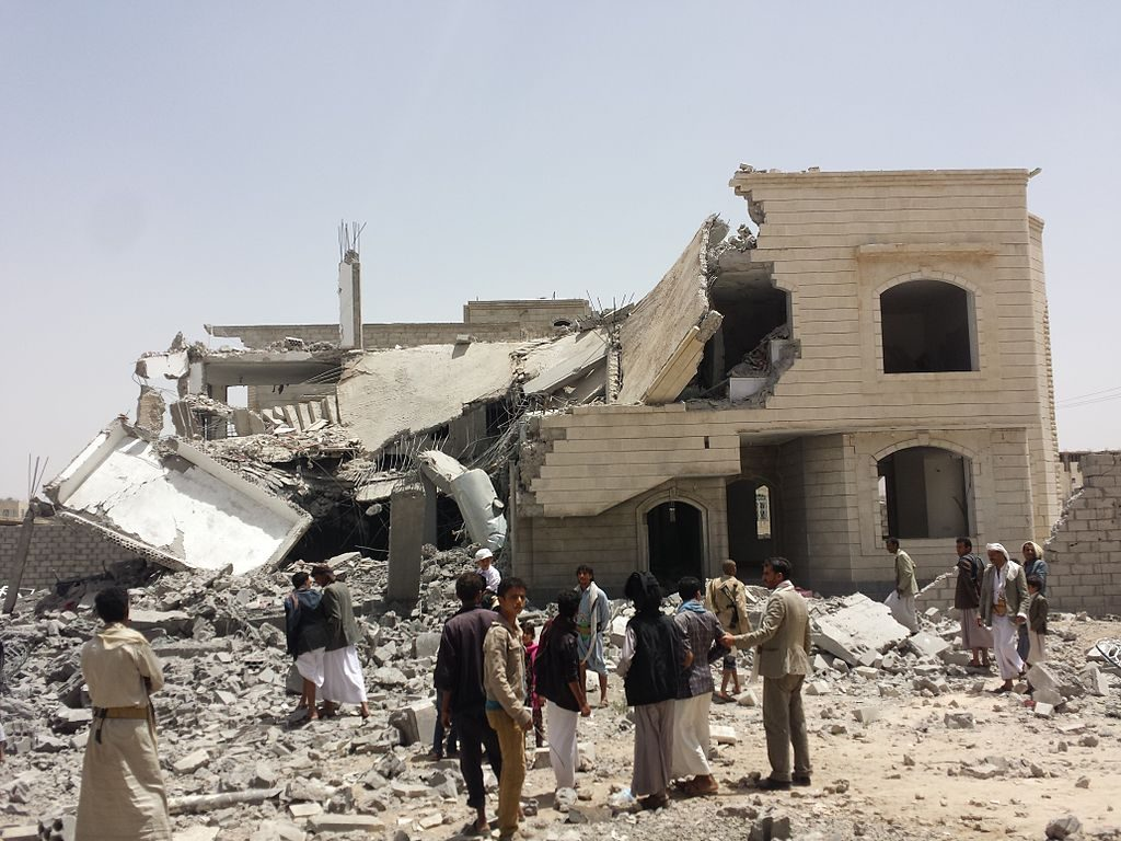 A photo of a destroyed house in Sana'a, Yemen