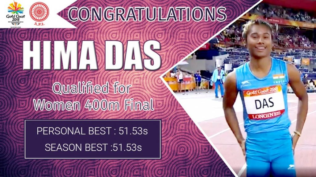 Hima Das has stunned everyone after making it to the Commonwealth Games 2018 and has since never looked back. Credit Twitter @afiindia