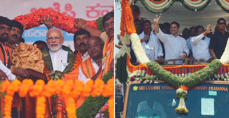 Prime Minister Narendra Modi and Congress chief Rahul Gandhi campaigning in Karnataka. Credit: Twitter
