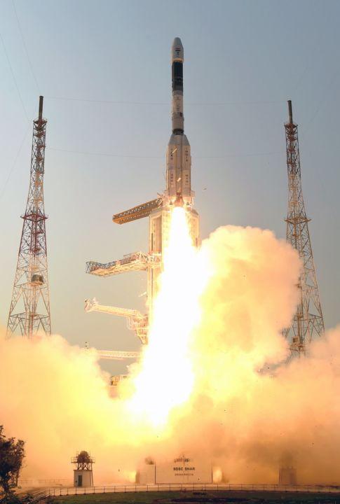 Photo of a rocket launch by ISRO
