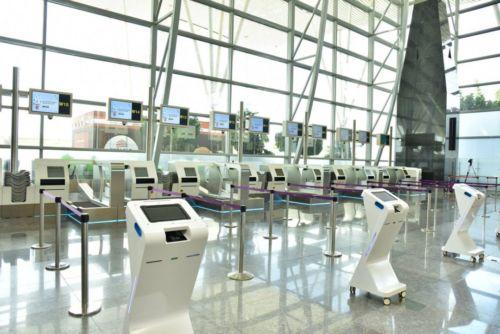 A photo of the self bag drop machines at the Bengaluru International Airport