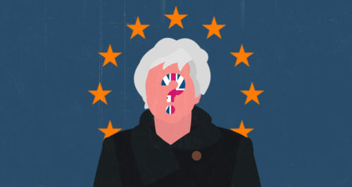 An illustration showing Theresa May's silhouette against EU's flag and a questions mark with the Union Jack on her face