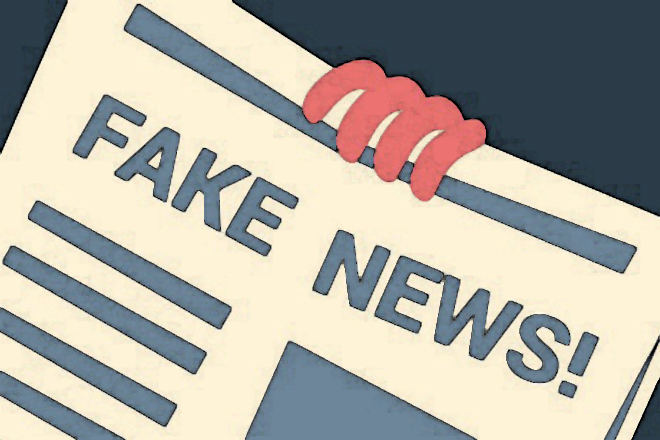 A graphic showing a broadsheet with the words fake news on it