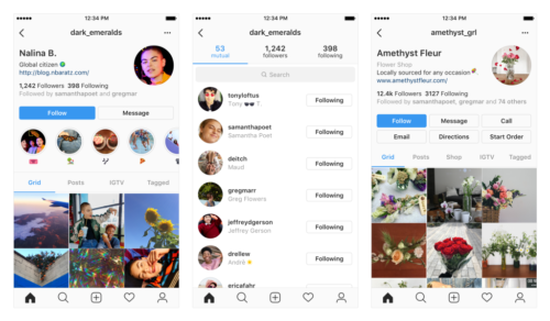 Screenshots of examples of potential changes to your Instagram profile