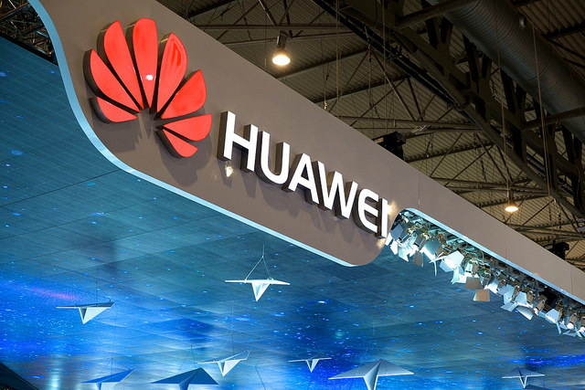 A photo of the Huawei logo at 2017 Mobile Congress