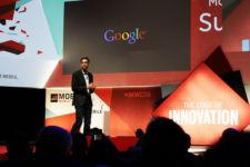 A photo of Google CEO Sundar Pichai giving a presentation