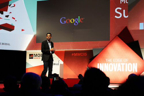 A photo of Google CEO Sundar Pichai giving a presentation