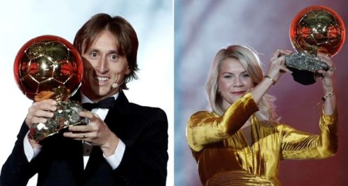 On the left, Luka Modrić with the Ballon d'Or trophy. On the right, Ada Hegerberg with hers.