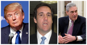 From left to right, photos of Donald Trump, Michael Cohen, and Robert Mueller