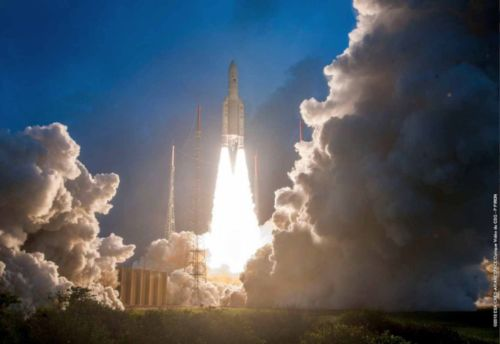A photo of the GSAT-11 being launched on Ariane-5 launch vehicle