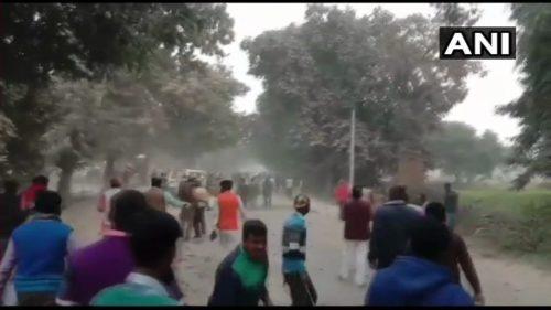 A screenshot of violence underway in Ghazipur
