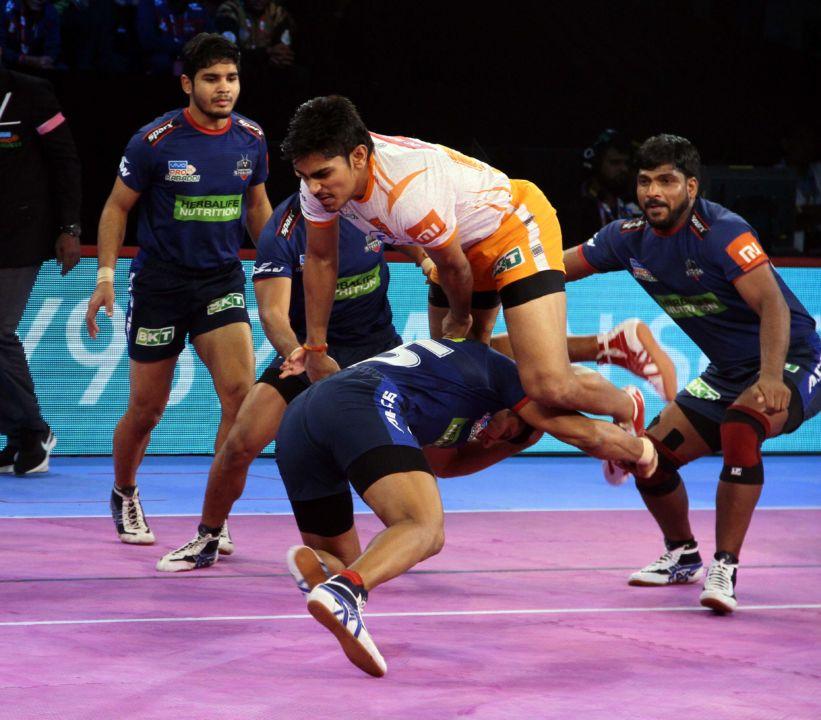 A kabaddi match in process