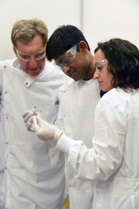 (From left to right) Professor Matt Trau, Dr Abu Sina, and Dr Laura Carrascosa
