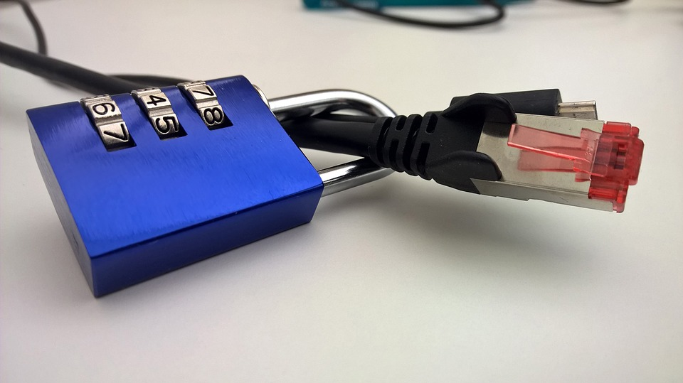 A photo of a lock around an ethernet cable