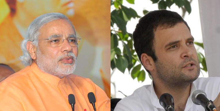 Photos of Modi and Rahul Gandhi side-by-side