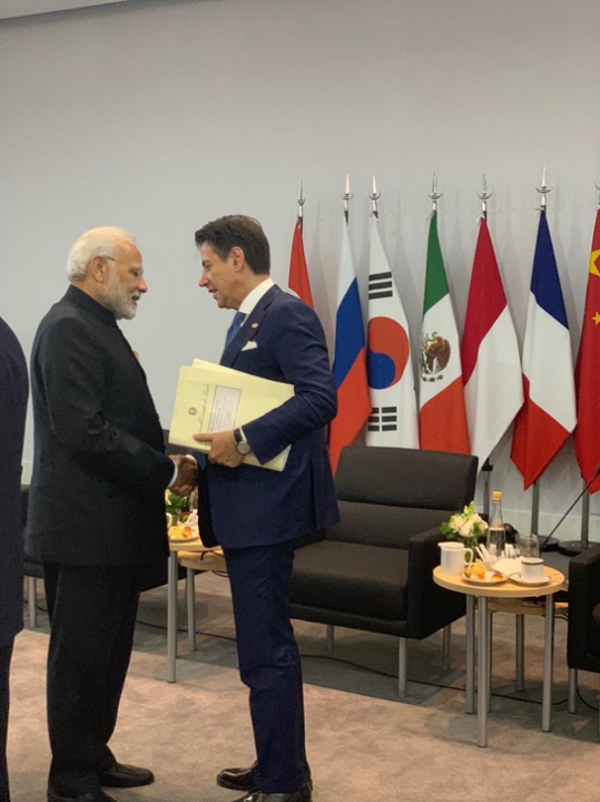 A photo of Prime Minister Modi shaking hands with Italian Prime Minister Giuseppe Conte at the G20 summit in Argentina