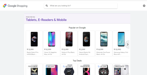 A screenshot of Google Shopping as it is visible in India