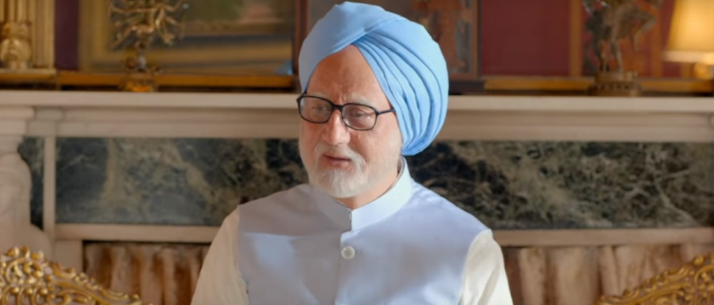 A screenshot from the trailer showing Anupam Kher playing the role of Manmohan Singh. Screenshot taken from trailer under fair use.