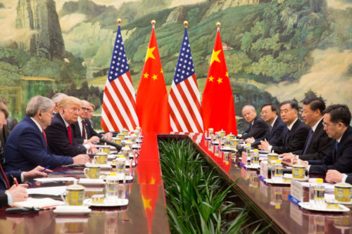 President Donald J. Trump participates in a bilateral meeting with President Xi Jinping at the Great Hall of the People, Thursday, November 9, 2017, in Beijing, People's Republic of China.