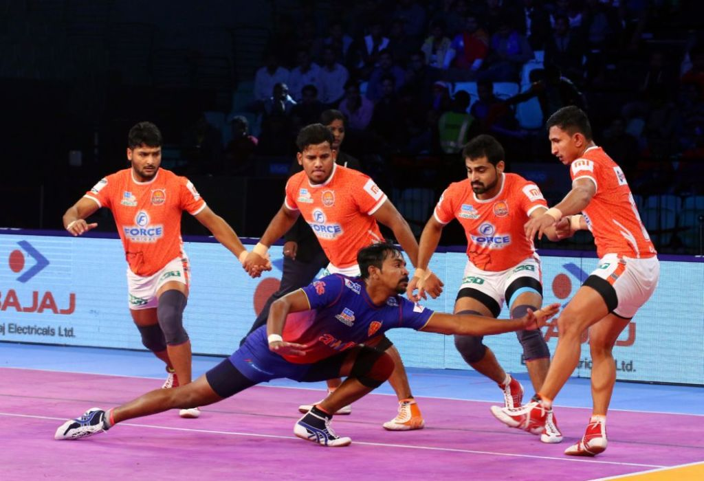 A photo of a kabaddi team in action