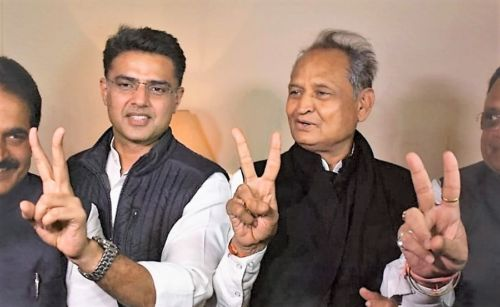Who will be Rajasthan's chief minister, Sachin Pilot (L) or Ashok Gehlot (R). Credit: Twitter/Sachin Pilot