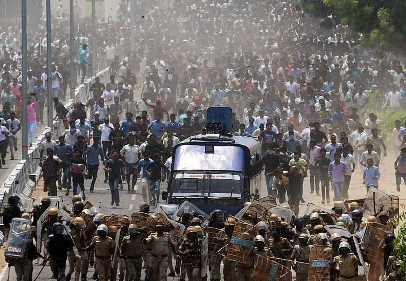 Protesters in large numbers take out a march against the Sterlite copper plant on May 22, 2018.