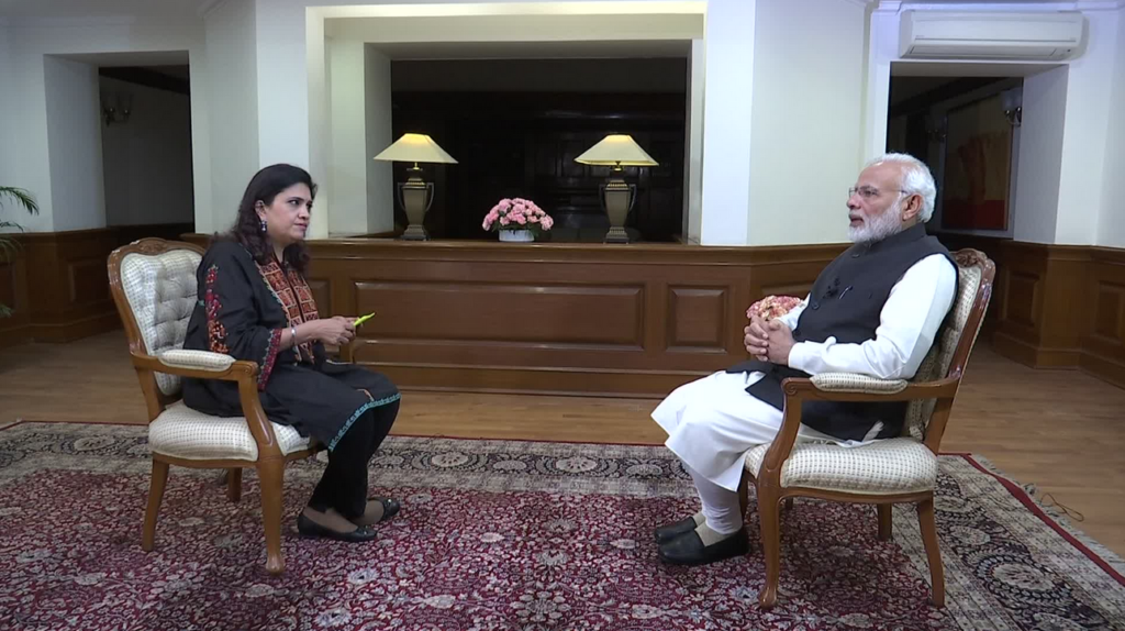 Photo of Narendra Modi and Smita Prakash during the interview. Used here under fair use.
