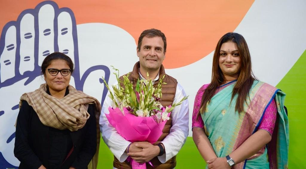 A photo of, from left to right, Sushmita Dev, Rahul Gandhi and Apsara Reddy