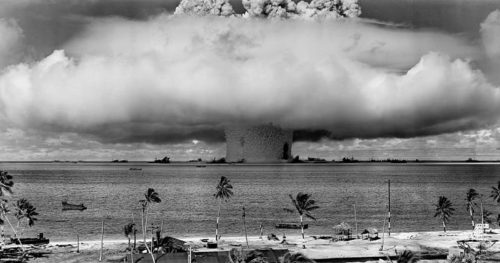 "The ""Baker"" explosion, part of Operation Crossroads, a nuclear weapon test by the United States military at Bikini Atoll, Micronesia, on 25 July 1946."