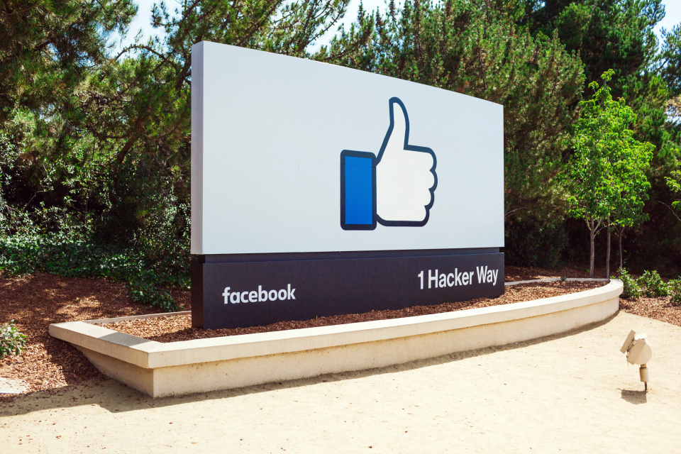 A photo of a Facebook like sign at the entrance of Facebook's headquarters in Menlo Park, California