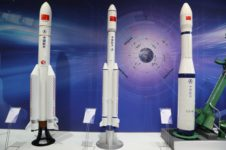 Scale models of rockets at China Aerospace Science and Technology Corporation's booth at the International Astronautical Congress.