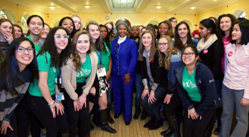 UN Women Executive Director Phumzile Mlambo-Ngcuka speaks to teen delegates from the Working Group on Girls to the 59th Commission on the Status of Women.