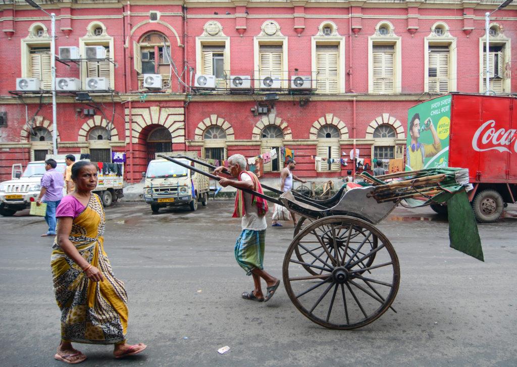 A photo of a rickshaw puller in Kolkata.