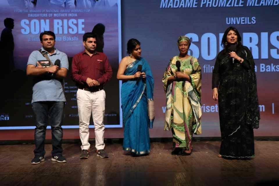 L-R: Sunil Jaglan, Jitender Chhatar, Nishtha Satyam, Madame Phumzile Mlambo-Ngcuka, and Vidha Bakshi at the screening of Son Rise. Credit: Weber Shandwick