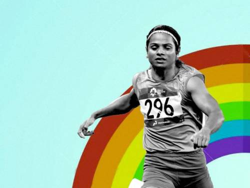 Star sprinter, Dutee Chand, set against a backdrop of a rainbow, to signify her part in the LGBTQ community after she recently came out as a lesbian.
